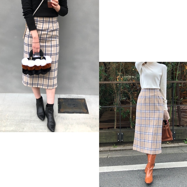 【BEIGE:即納】ウール混チェック柄タイトスカート