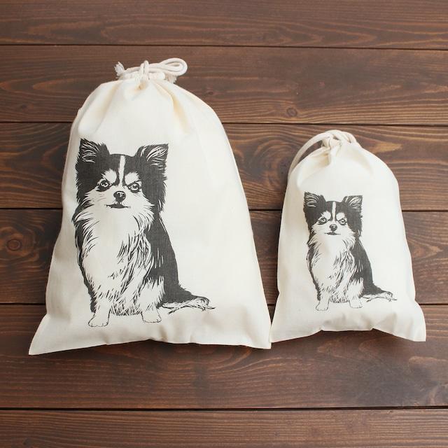 <チワワ柄> 容量たっぷりの便利な巾着袋・ポーチ☆2サイズセット