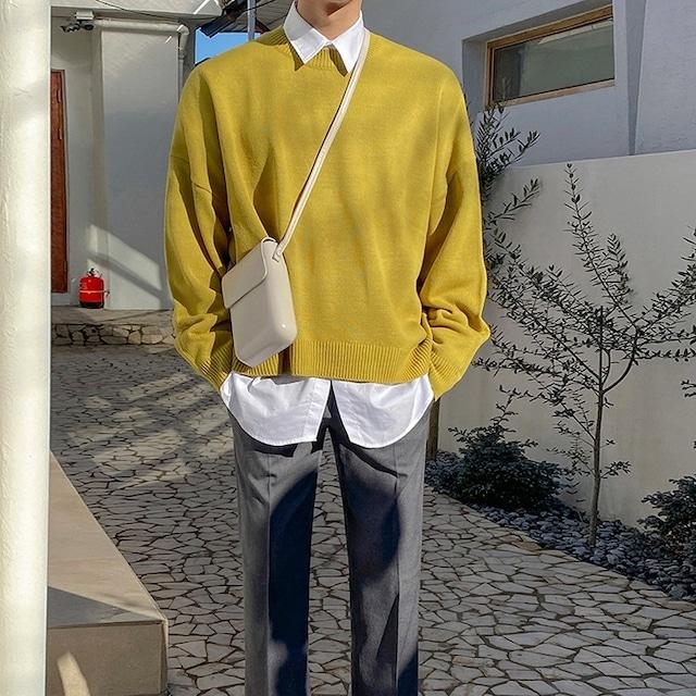 Loose botoming yellow sweater   b-526