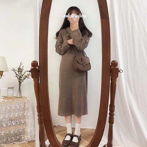 襟付き ワンピース 長袖 ミモレ丈 ゆったり レディース ファッション フェミニン カジュアル ナチュラル シンプル(A804)