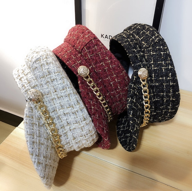 tweed casquette 3color