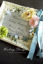 ウェディング ウェルカムボード(アンティークホワイトフレーム&ピンク&ブルー)結婚式