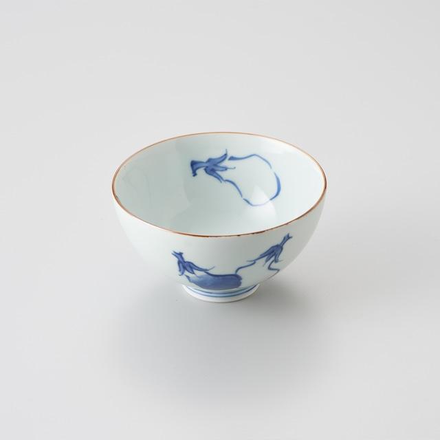 """【青花】""""Classic"""" 3.5寸丸飯碗(茄子絵)"""