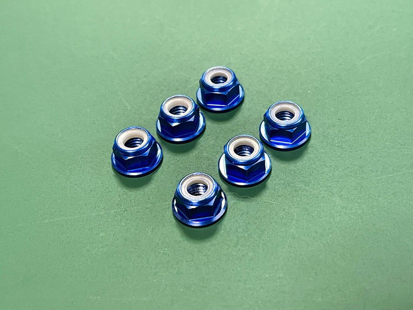◆アルミフランジロックナット (深ブルー6個セット) CW正回転