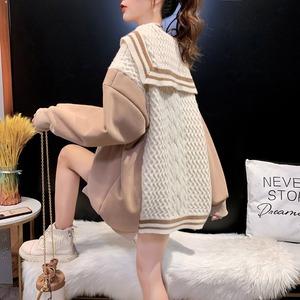 オシャレ度満点 女性らしい 切り替え 長袖  ニット セーター<ins-2340>
