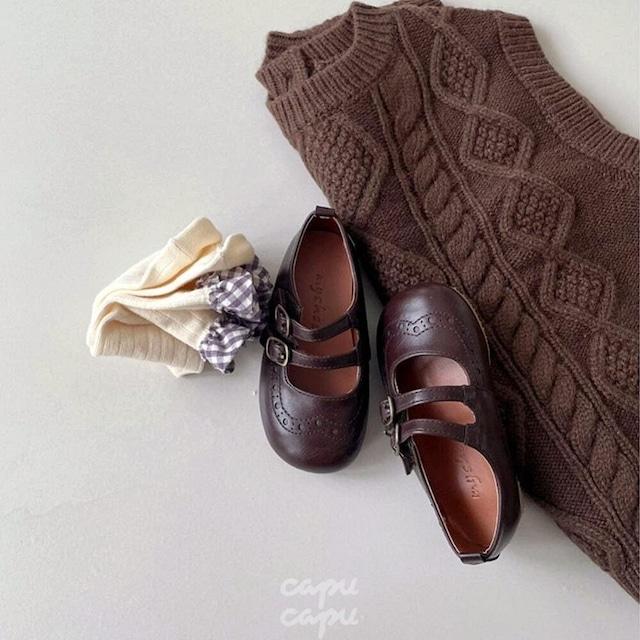 «予約» Classic doubble strap shoes 2colors 子供靴 キッズシューズ
