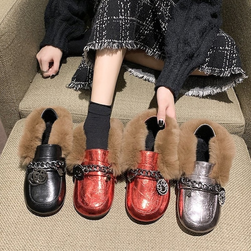 ファー付き ローファー チェーン ローヒール ラウンドトゥ ビット 韓国ファッション レディース ぺたんこ 歩きやすい 履きやすい 痛くない 62754935938