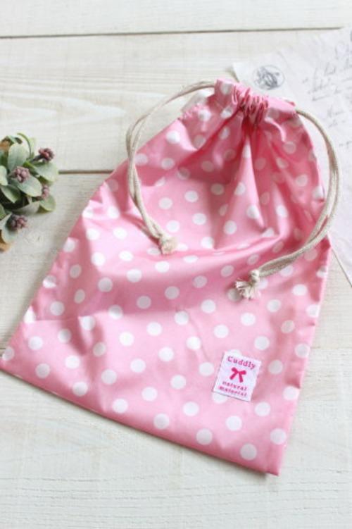 ナイロン巾着*ドット ピンク タグリボン/A*K 型番:A29ピンク