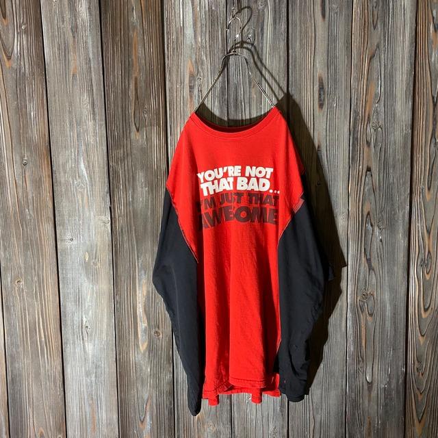 [remake]NIKE red×black docking T shirt