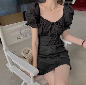 vintage lace up dress 2color