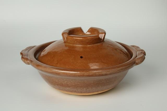 雲井窯9寸土鍋(赤楽風)〈3~4人用〉 信楽焼