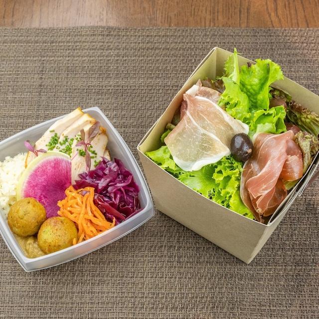 【低糖質・高タンパク】生ハムサラダと国産鶏ムネBOX [Low carb/high protein]  Prosciutto ham salad and Japanese chicken breast BENTO