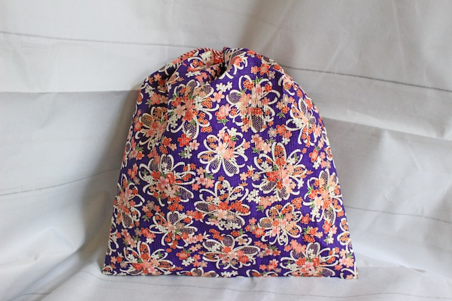紫色桜文様和紙巾着Lサイズ