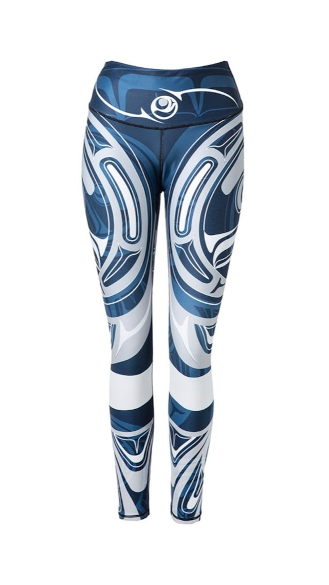 Wolf and Moon with Band Navy Legging