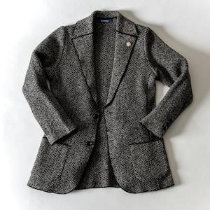 【5%OFF 前売り お待たせ価格】ブークレ ヘリンボーン ニットジャケット