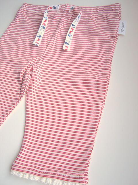 オーガニックコットン 裾レースレギンス ベビー服 レッドストライプ 【purebaby】