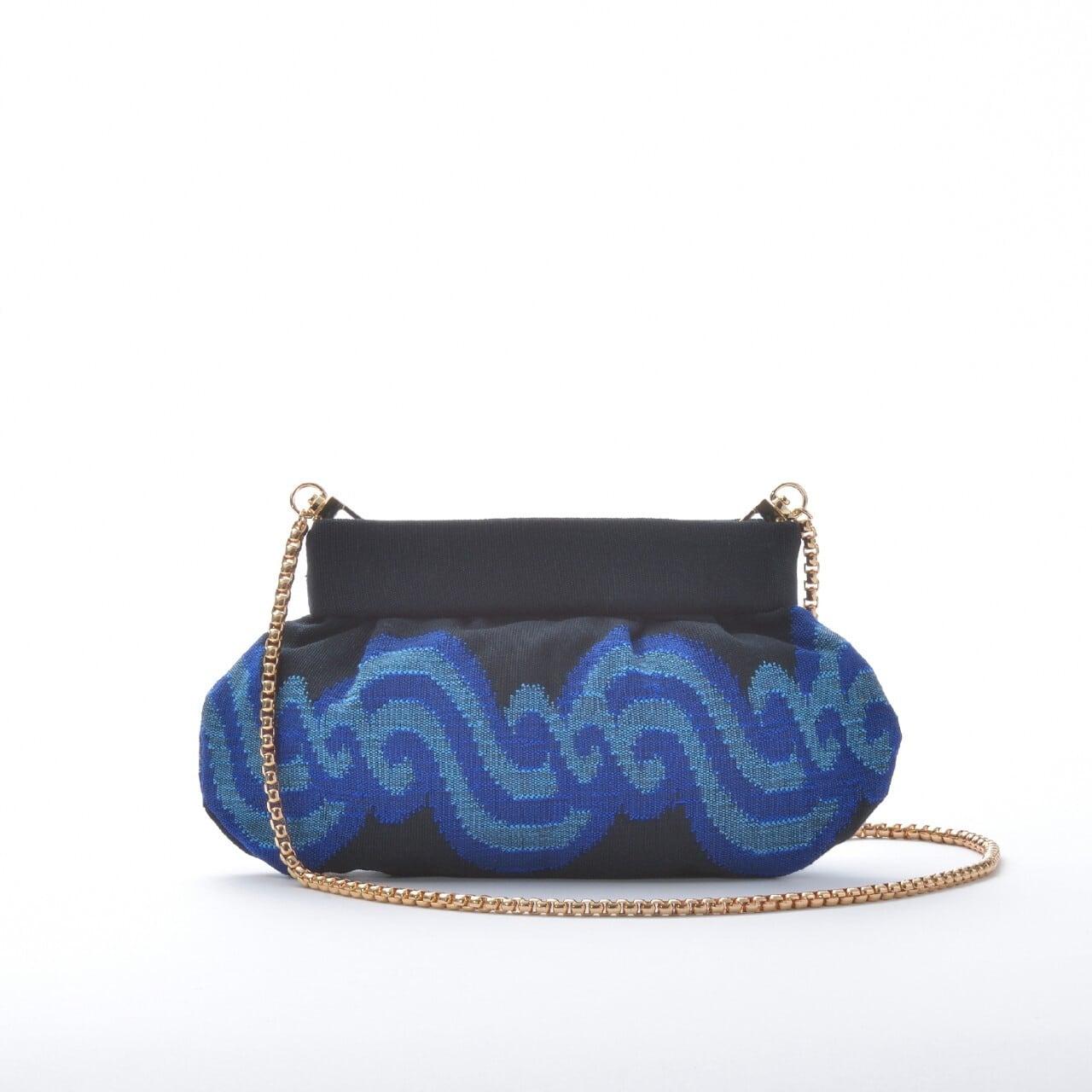 チェーン付き手織りクラッチS アチェ柄  ブラック×ブルー(新商品)