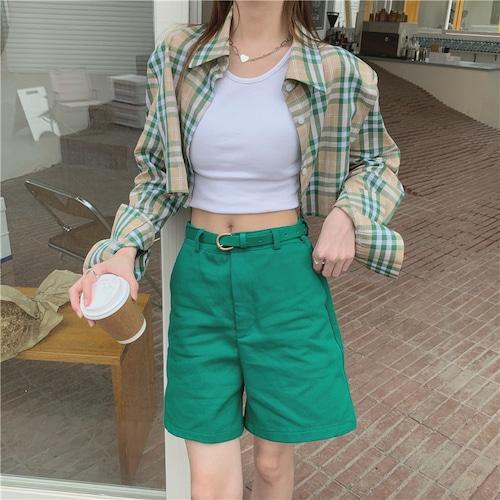 クロップドグリーンチェックシャツ RD8439