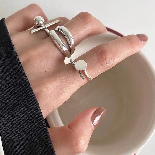circle silver ring 3peace