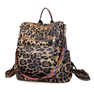 レディースリュック ヒョウ柄 ファッション感 たっぷりバック 通学バッグ 旅行リュックサック 肩掛けバッグ カジュアルショルダーバッグ PUレザー 5805