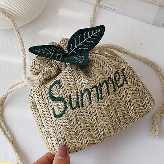 【バッグ】シンプル紐締め肩掛け草編み>ショルダーバッグ43176382