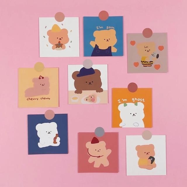 【送料無料】即納 ケーキベア ポストカード9枚セット 韓国インテリア 韓国雑貨