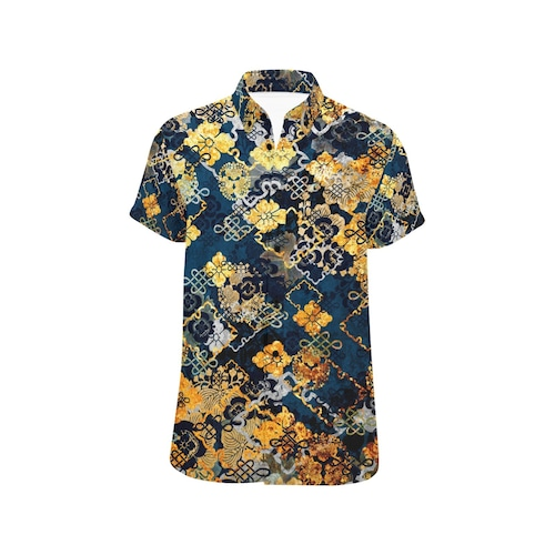 家紋装飾Blue Gold ユニセックス半袖シャツ