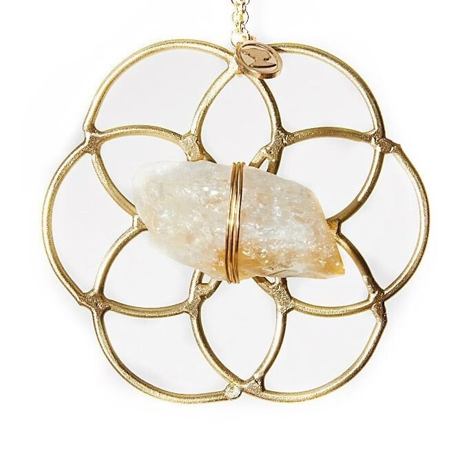 Ariana Ost Super Mini Grid Flower Of Life Ornament Citrine ミニクリスタルグリッドオーナメント シトリン フラワーオブライフ