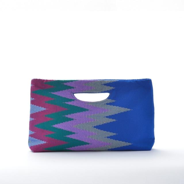 手織りペンシルバッグ ブルー×カラフル(新商品)