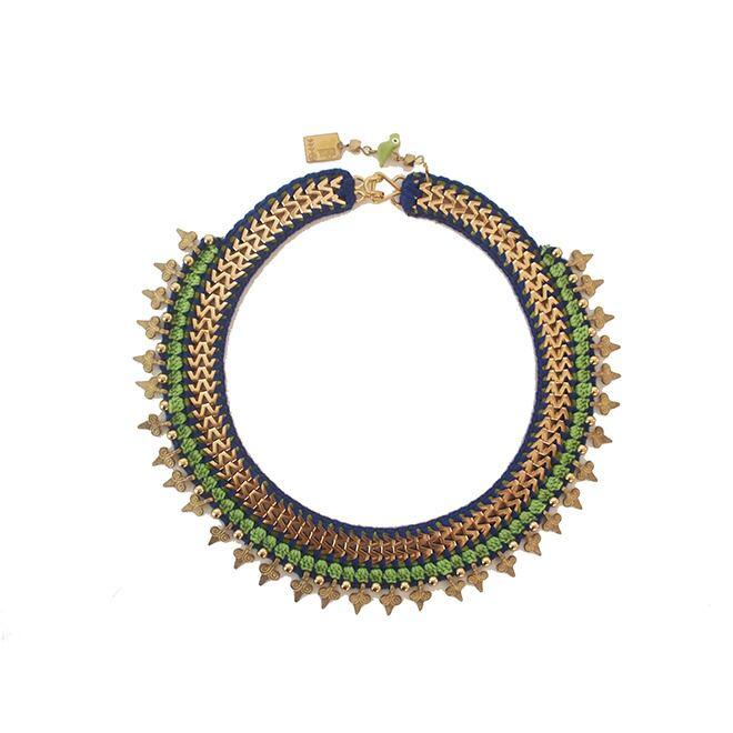 Maya-Bazaar ネックレス ヴィンテージロマン ブルー×ライトグリーン