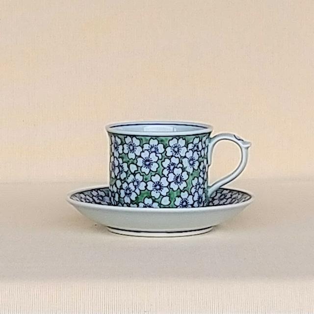 伐太郎窯 緑彩 桜詰 コーヒー碗皿