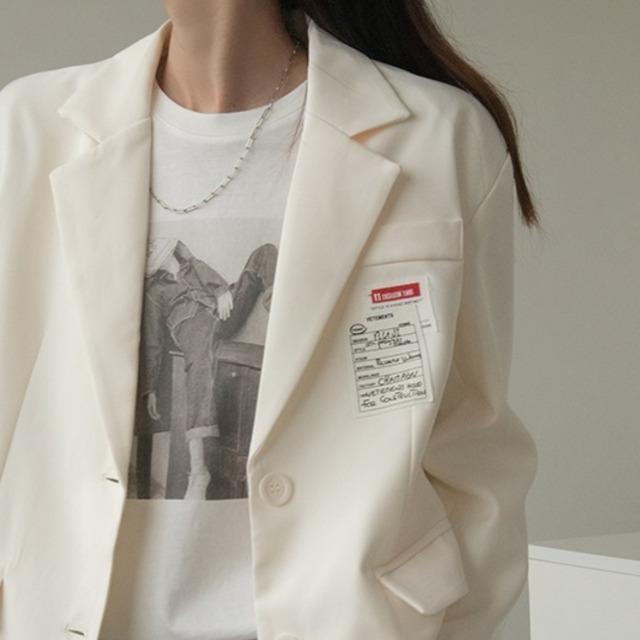 Cream white emblem jacket(クリームホワイトエンブレムジャケット)b-046