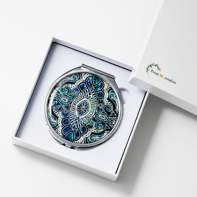 天然貝 コンパクトミラー(エイシェントイスタンブール・アクア)|螺鈿アート|プレゼント・ギフトにおすすめ