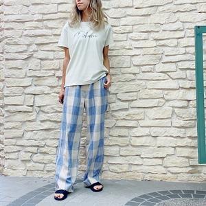 GREED(グリード) Original Cotton Linen Kasuri Plaid  Pants 2021秋物新作[送料無料]