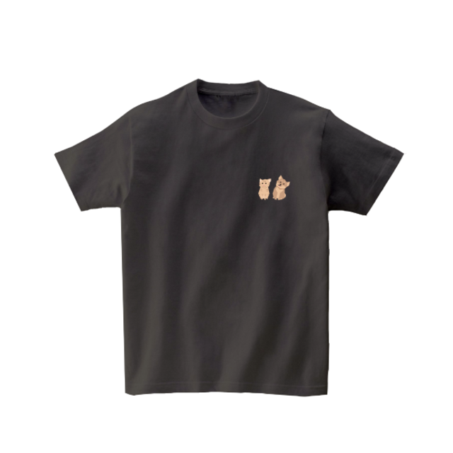 動物Tシャツ-わんにゃん(チャコールグレー)