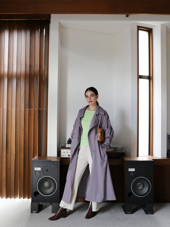 pleats trench coat(purple gray)