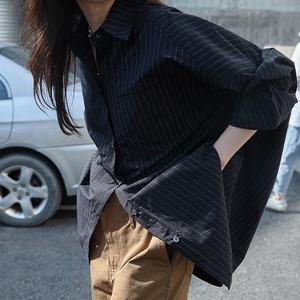 ストライプロングルーズシャツ ・3028