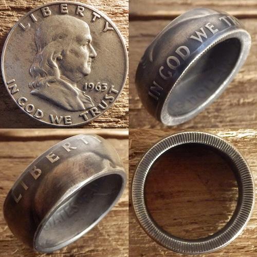 【受注生産】USA フランクリンハーフダラーシルバーコインリングA 肖像面【アメリカ ヴィンテージ 50セント銀貨】