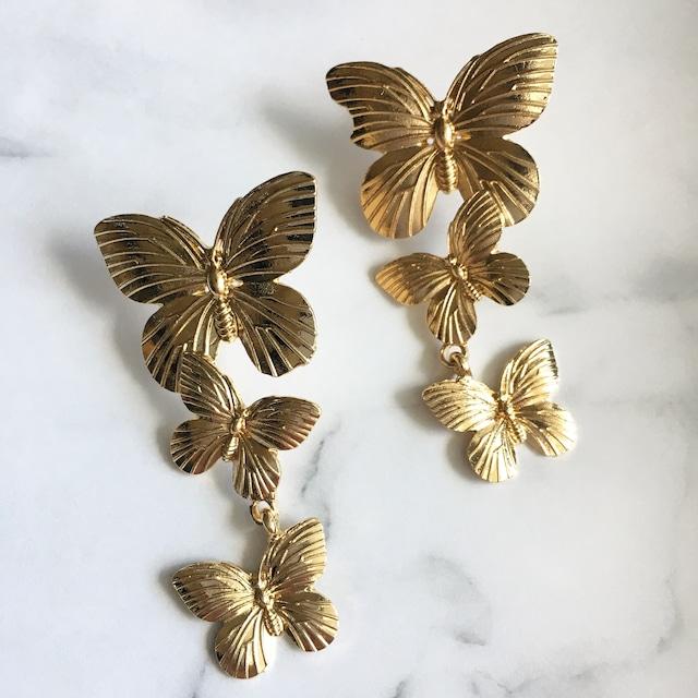 ブライダルピアス イヤリング|バタフライモチーフ(蝶々)|ゴールド (BC-E56)