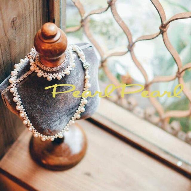 編み編み淡水パール*キラキラマグネットネックレス