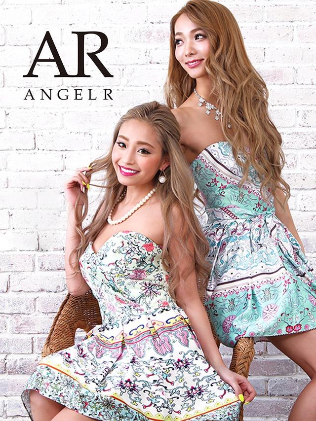 【AngelR】ミニドレス フレア系 ワンピース ベアトップ 花柄 フラワー エスニック柄 バンダナ柄 ドレス(AR7613)