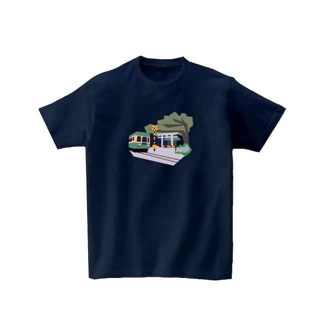 電車Tシャツ-あじさい咲く鎌倉