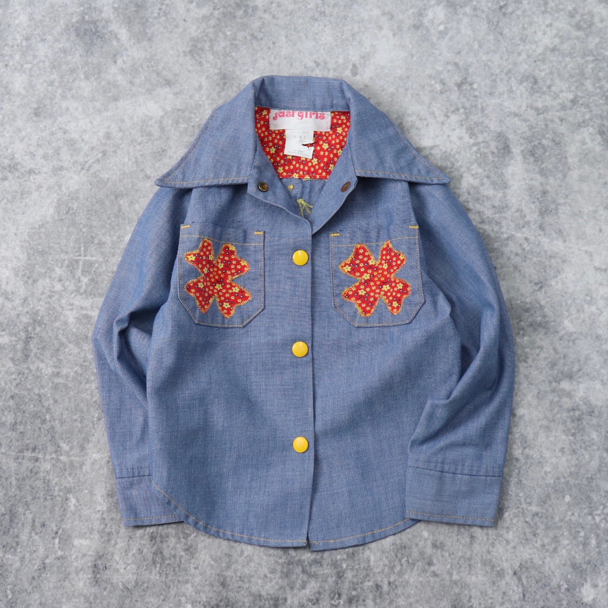 【KIDS】1970s  Vintage  Embroidery  Chambray  Shirts  A963