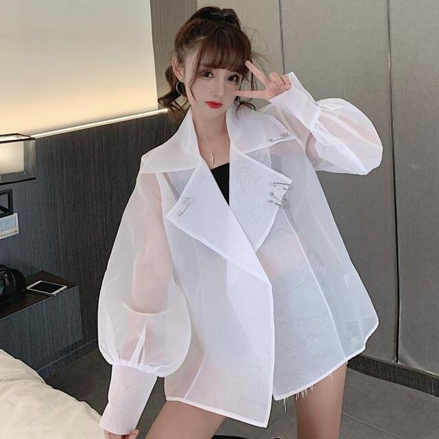 【アウター】韓国系長袖折り襟パフスリーブシースルーUVカット30371265