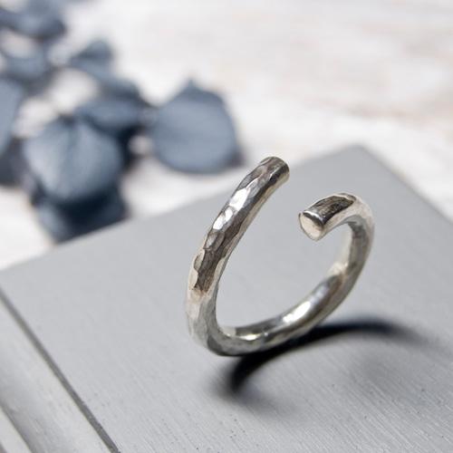 シルバーラウンドプレーンリング フリーサイズ 3.0mm幅 鎚目 3号~27号 WKS  ROUND PLANE RING FREESIZE 3.0 sv hammer finish SILVER950 銀 指輪 FA-238