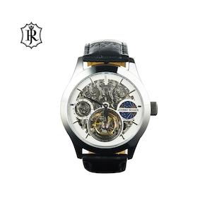 JOHNNYROGER メンズ 腕時計 フライングトゥールビヨン Tourbillon GMT 彫り スケルトン Meister
