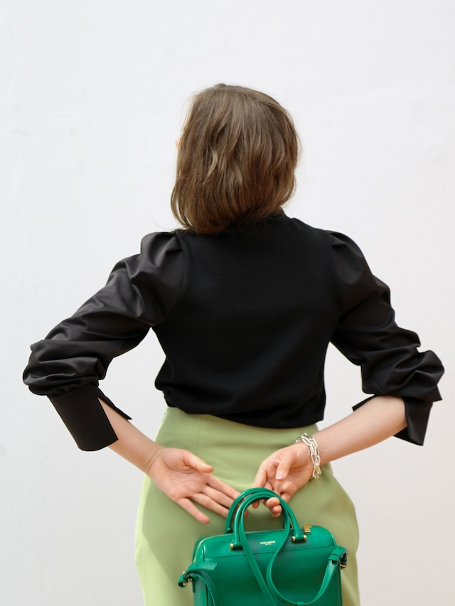 slit sleeve combi blouse(black)