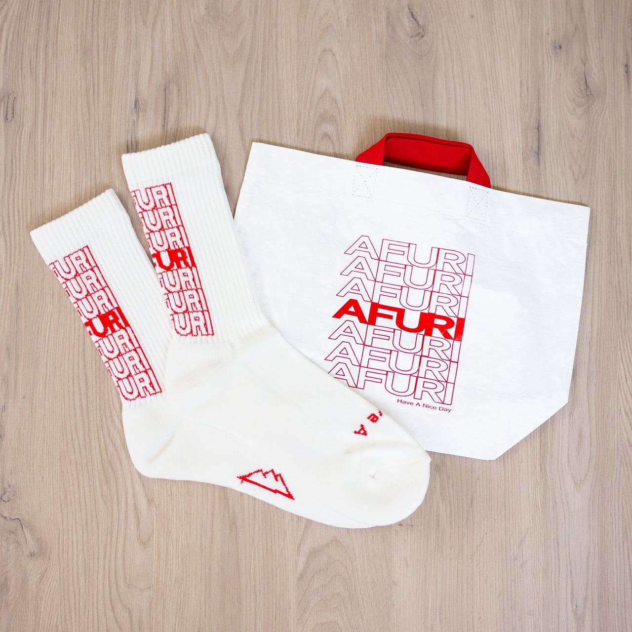 "AFURI ""Have A Nice Day"" Socks & Bag SET"