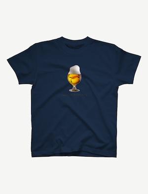 【ビールの中でしか・・・ウミガメ】Tシャツ(インディゴ)