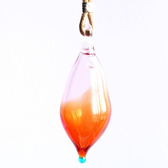 硝子のアロマペンダント<Red & Orange>